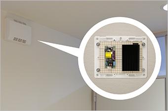 電気錠制御盤の中や併設して外部から見えなくすることができます。